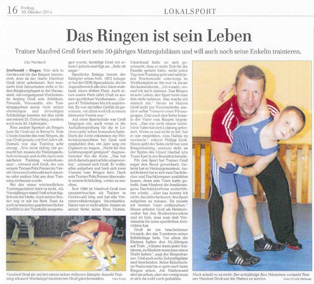 Ostsee Zeitung 10.10.14